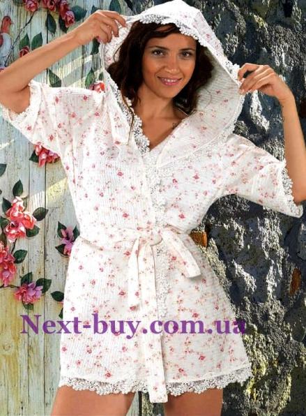 Maison D'or Roses Camile женский халат вафельный с кружевом фиолетовый
