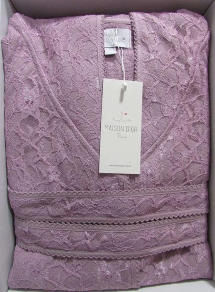 Женский халат бамбуковый Maison D'or Phul Long с гипюровой сеткой