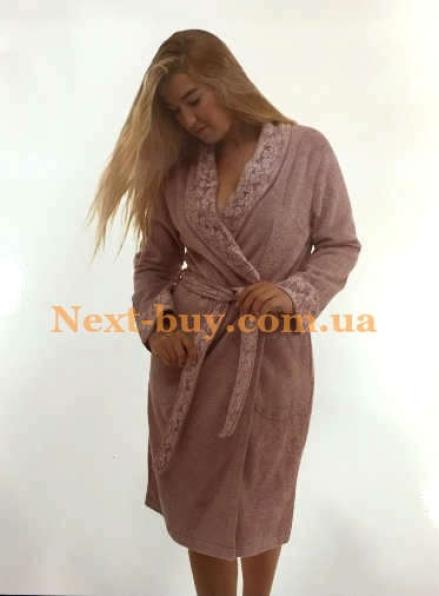 Женский халат бамбуковый Maison D'or Laurette с кружевом