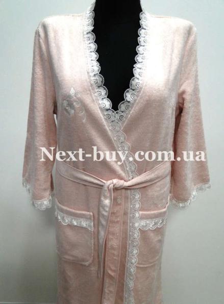 Женский халат бамбуковый Maison D'or Celyn Long с кружевом грязно-розовый