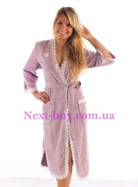 Женский халат бамбуковый Maison D'or Celyn Long с кружевом фиолетовый
