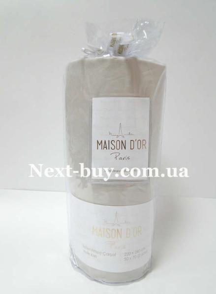 Простынь на резинке 220х240см сатиновая Maison D'or Беж с наволочками