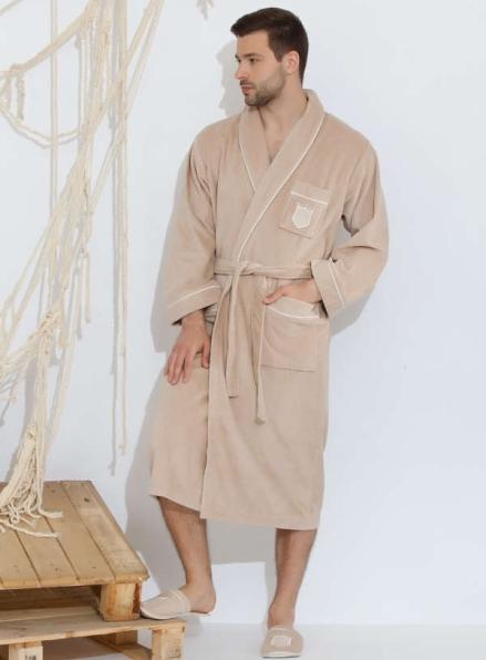 Мужской махровый халат Maison D`or Paris Boswel с шалевым воротником и тапками бежевый