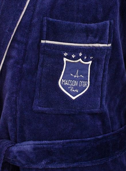 Мужской махровый халат Maison D`or Paris Boswel с шалевым воротником и тапками синий