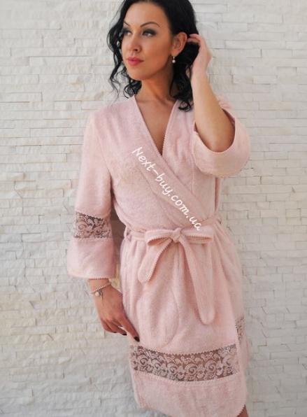 Maison D'or Evelyn женский махровый халат пудра