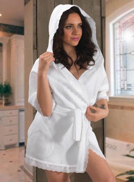 Maison D`or GREEK белый вафельный халат c капюшоном