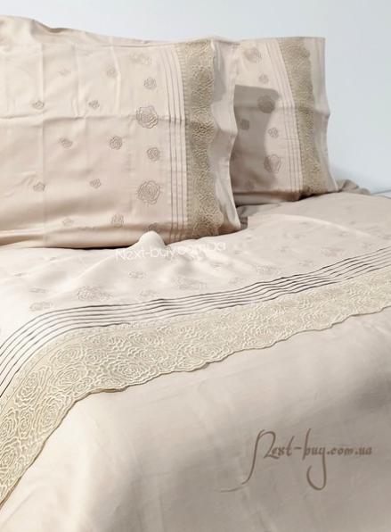 Maison D'or Roesia Estee Beige постельное белье евро 200х220 сатин с вышивкой