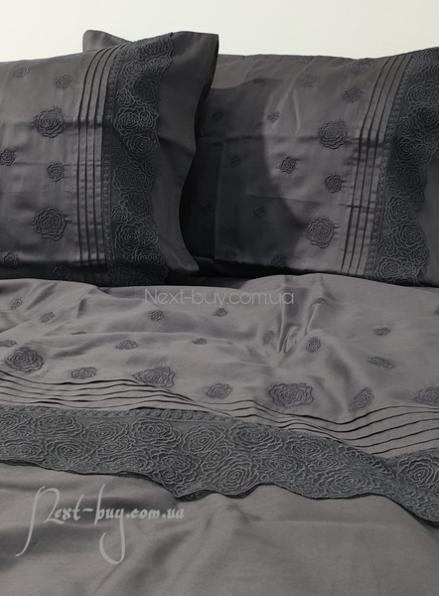 Maison D'or Roesia Estee Anthracite постельное белье евро 200х220 сатин с вышивкой