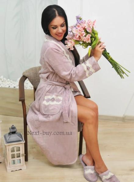 Maison D'or Vanessa Long халат домашний с кружевом фиолетовый