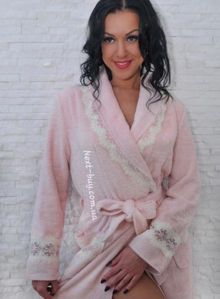 Maison D'or Vanessa Long халат домашний с кружевом розовый