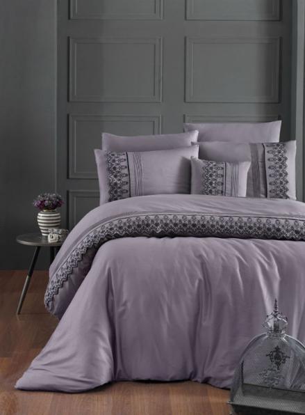 First choice Mona Leylak vip сатин постельное белье евро 200х220