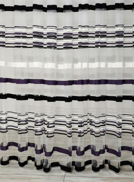 Тюль фатин Kolii 3 фиолетово-черный