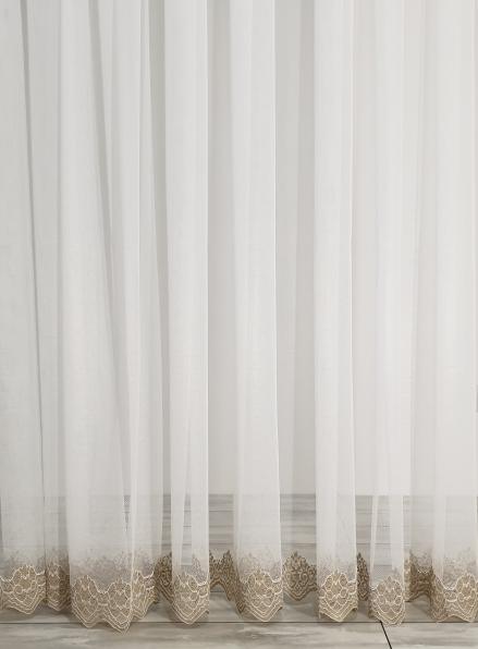 Тюль сетка с узорным низом Below крем с бежевым