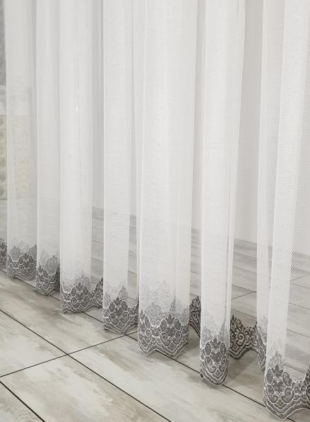 Тюль сетка с узорным низом Below крем с серым