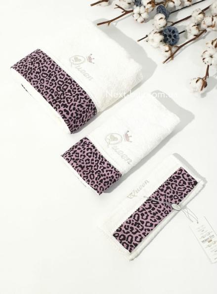 Maison D'or Queen набор махровых полотенец 3шт. крем/лиловый