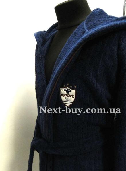 Мужской махровый халат Maison D'or Rodolphe с тапками синий