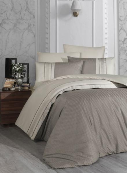 First choice Square Duet Vizon/Toprak delux сатин постельное белье полуторный 160х220