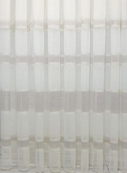 Тюль лён с плетением Linen беж+кофейный