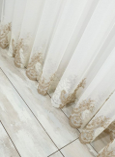 Тюль грек-сетка Bridalveil кремовый+коричневый с блеском