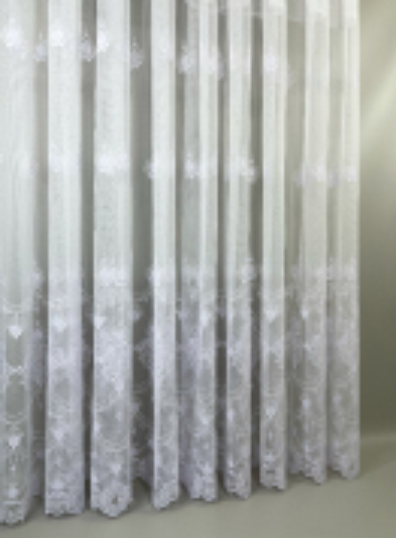 Тюль грек-сетка с узором Hanging белый Турция