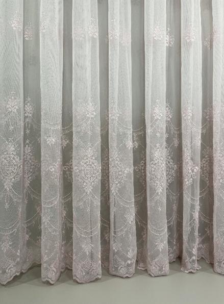 Тюль грек-сетка с узором Hanging пудра Турция