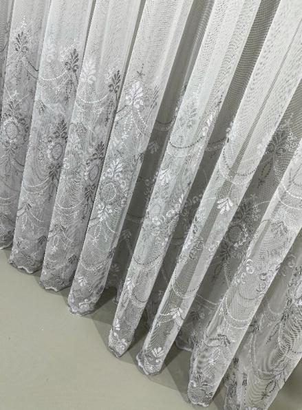 Тюль грек-сетка с узором Hanging серый с белым Турция
