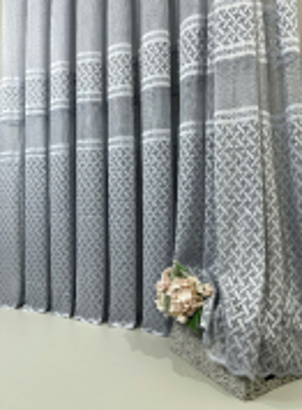 Тюль грек-сетка с плетением Wicker серый Турция