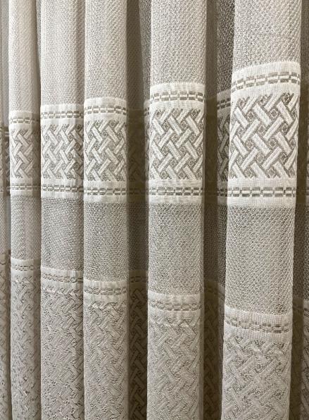 Тюль грек-сетка с плетением Wicker бежевый Турция