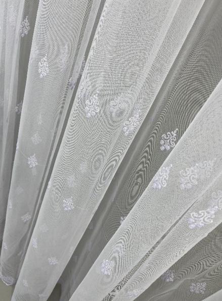 Тюль грек-сетка с нежным узором Gentle белый Турция