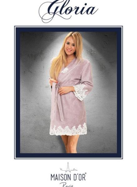 Maison D'or Gloria бамбуковый женский халат со стразами фиолетовый