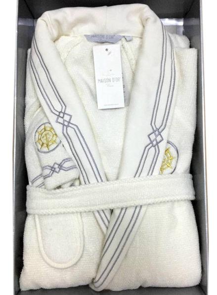 Мужской халат Maison D`or Paris Elegance Marine с шалевым воротником и тапками крем
