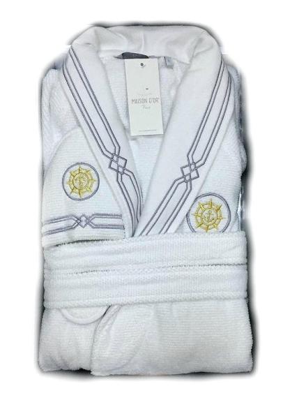 Мужской халат Maison D`or Paris Elegance Marine с шалевым воротником и тапками белый