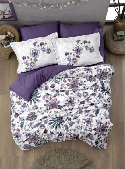 Постельное белье First choice Kelly Purple (250 TC Satin) евро 200х220