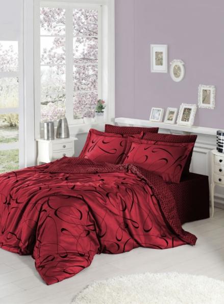 First choice CALISTO kirmizi постельное белье сатин евро 200х220