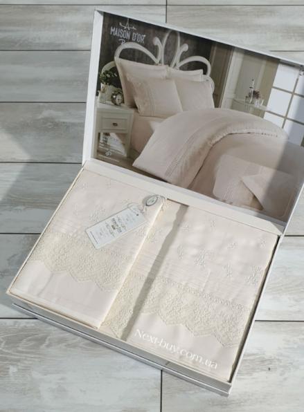 Maison D'or Jndila simone Ecru постельное белье евро 200х220 сатин с кружевом