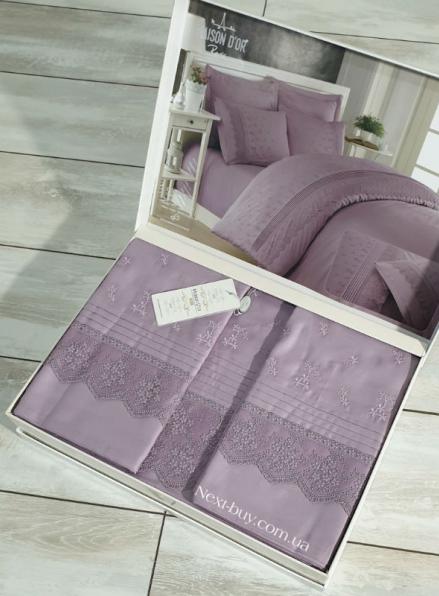 Maison D'or Jndila simone Lilac постельное белье евро 200х220 сатин с кружевом