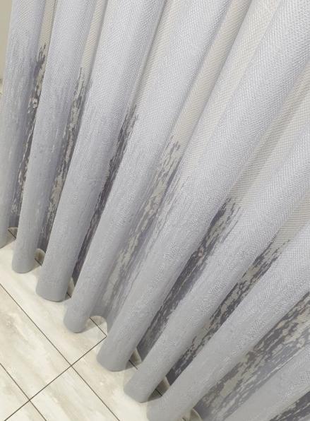 Тюль с узором грек-сетка Scheme серый