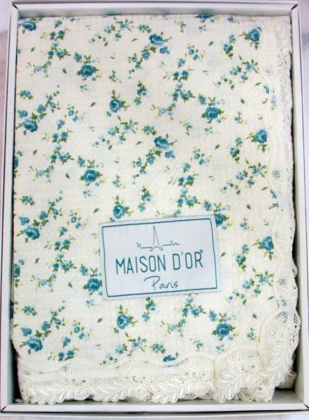 Maison D'or Roses покрывало вафельное с кружевом  220x240см бирюзовый