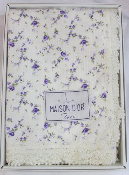 Maison D'or Roses покрывало вафельное с кружевом  220x240см лиловый