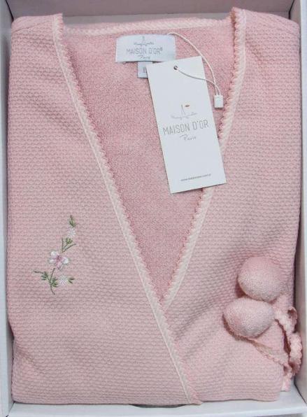 Maison D'or Adelynn вафельный женский халат розовый