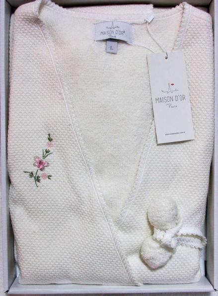 Maison D'or Adelynn вафельный женский халат кремовый