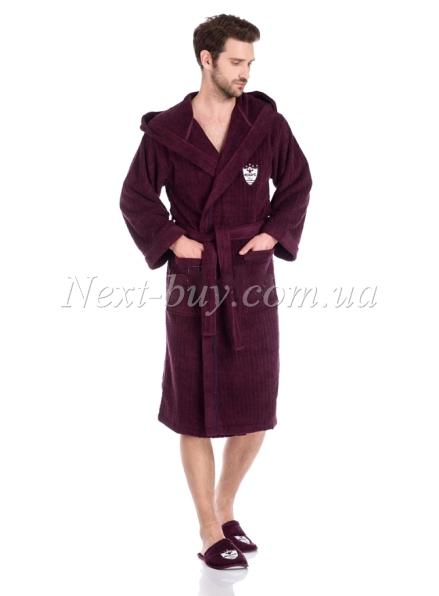 Мужской махровый халат Maison D'or Rodolphe с тапками фиолетовый