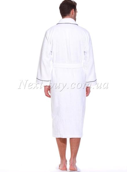 Мужской махровый халат Maison Dor Marine Club с тапками белый