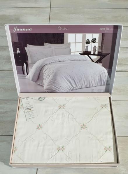 Maison D'or Juanna cream-salmon постельное белье евро 200х220 сатин с вышивкой из мелких цветочков