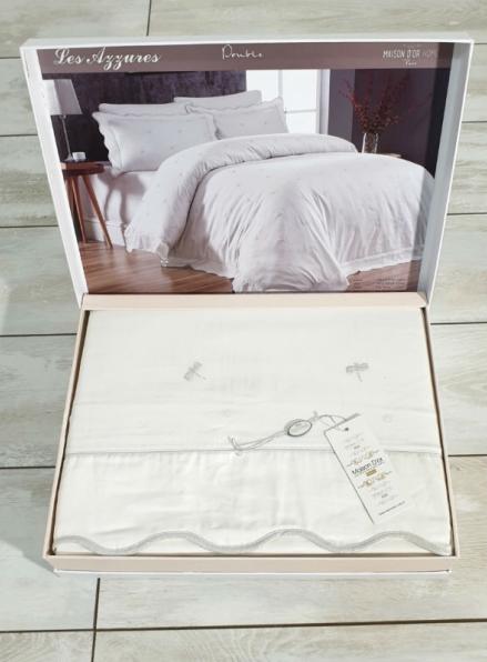 Maison D'or Les Azzures ecru постельное белье евро 200х220 сатин с вышивкой из стрекоз