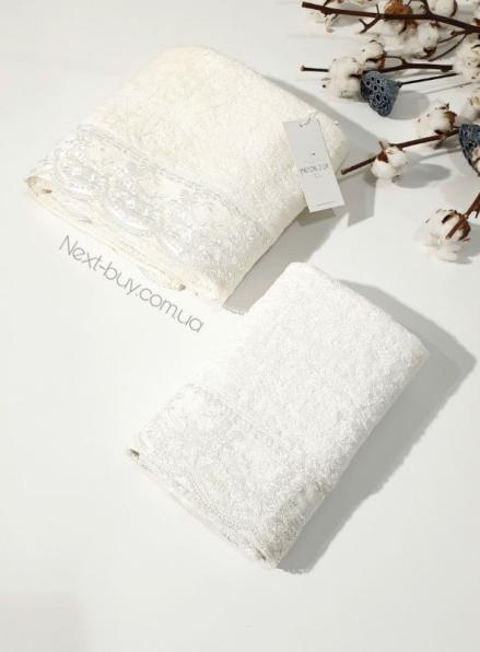 Maison D´or Julia набор полотенец бамбуковых полотенец с гипюром 50х100 и 85х150 кремовый