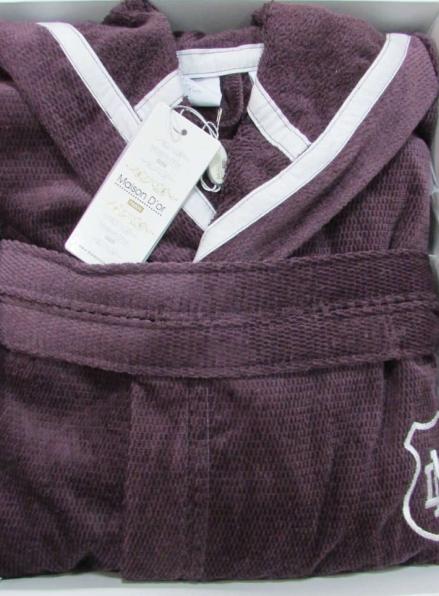 Мужской махровый халат Maison D`or Paris Leonor с капюшоном фиолетовый