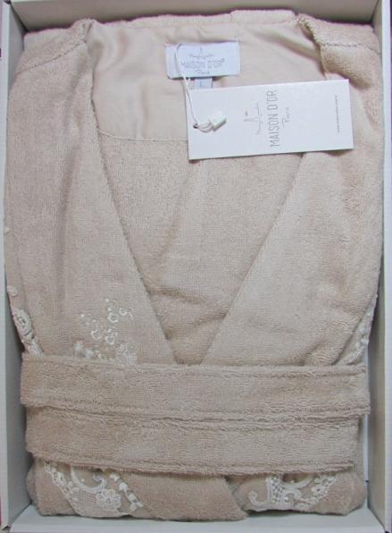 Женский халат бамбуковый Maison D'or Neria с кружевом бежевый