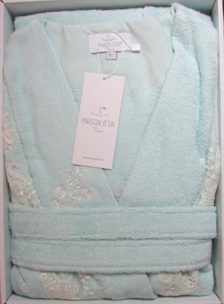 Женский халат бамбуковый Maison D'or Neria с кружевом бирюзовый