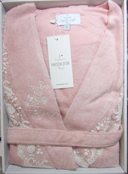 Женский халат бамбуковый Maison D'or Neria с кружевом грязно-розовый